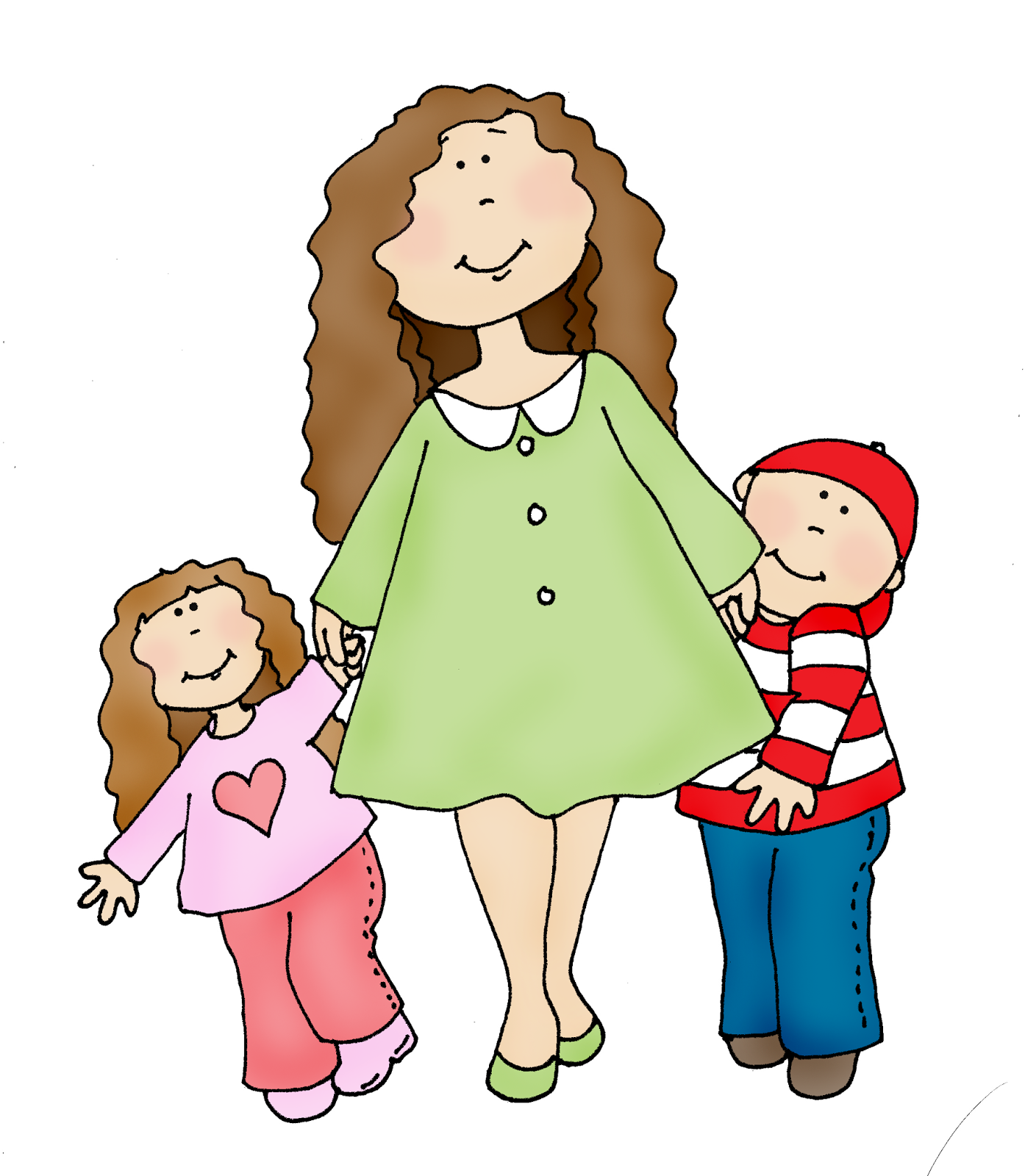Free Dearie Dolls Digi Stamps: Mom and Kids