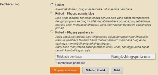pengaturan pembaca blog
