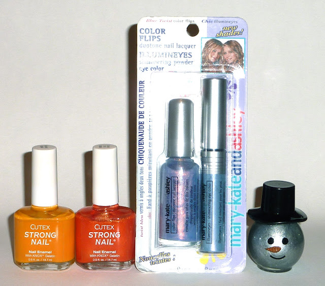 Cutex - Marigold & Orange Spritz, Mary-kate & Ashley - Blue Twist, Blue Cross - Snowman