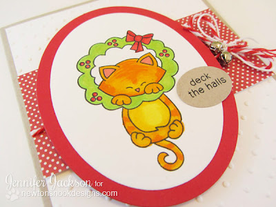 Deck the Halls Kitty Christmas Card by Newton's Nook Designs