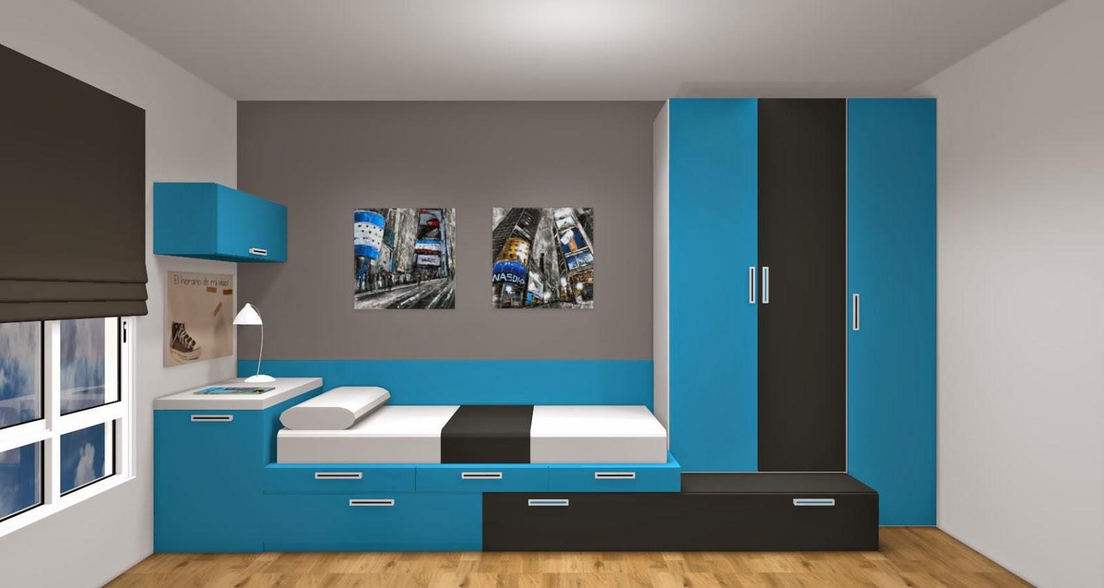 4 consejos antes de comprar dormitorios juveniles for Cuarto azul con gris