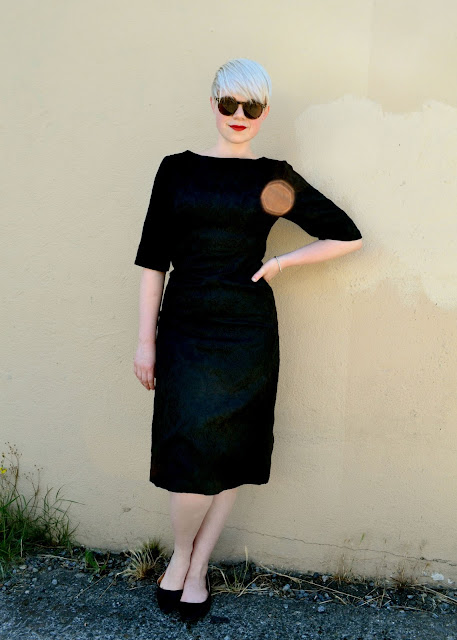 look of the day, ootd, black damask, wiggle dress, vintage