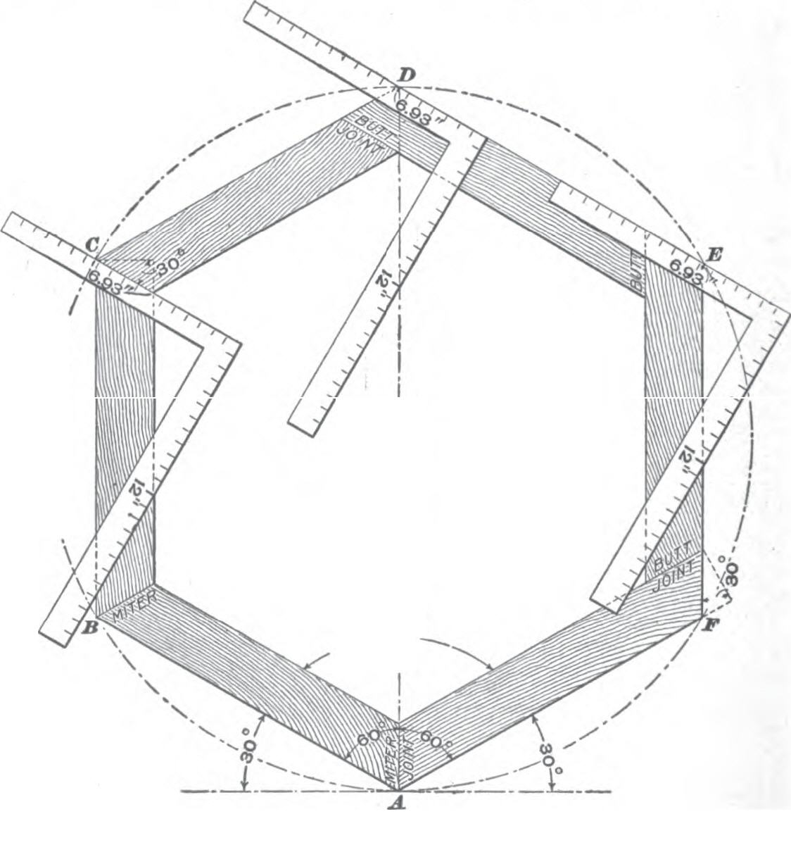 Roof framing geometry roof framing polygon angles for Hexagonal roof framing