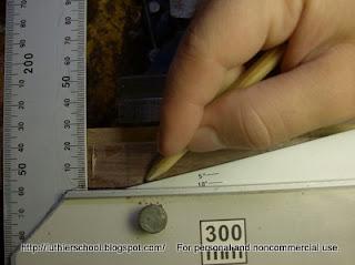 Χάραξη φάλτσου με την φαλτσογωνιά για κλίση καράβολα
