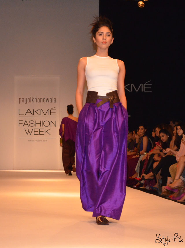 lakme fashion week payal khandwala purple white sheer