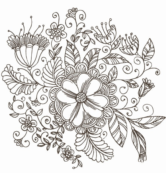 Beautiful Flower Line Drawing : Flowers drawings