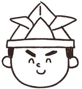 こどもの日のイラスト「兜をかぶった男の子」線画