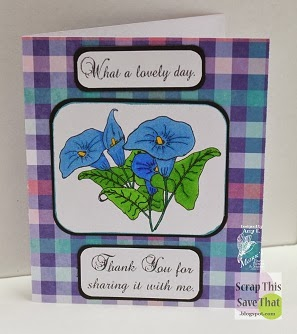 Blue Morning Glory Card