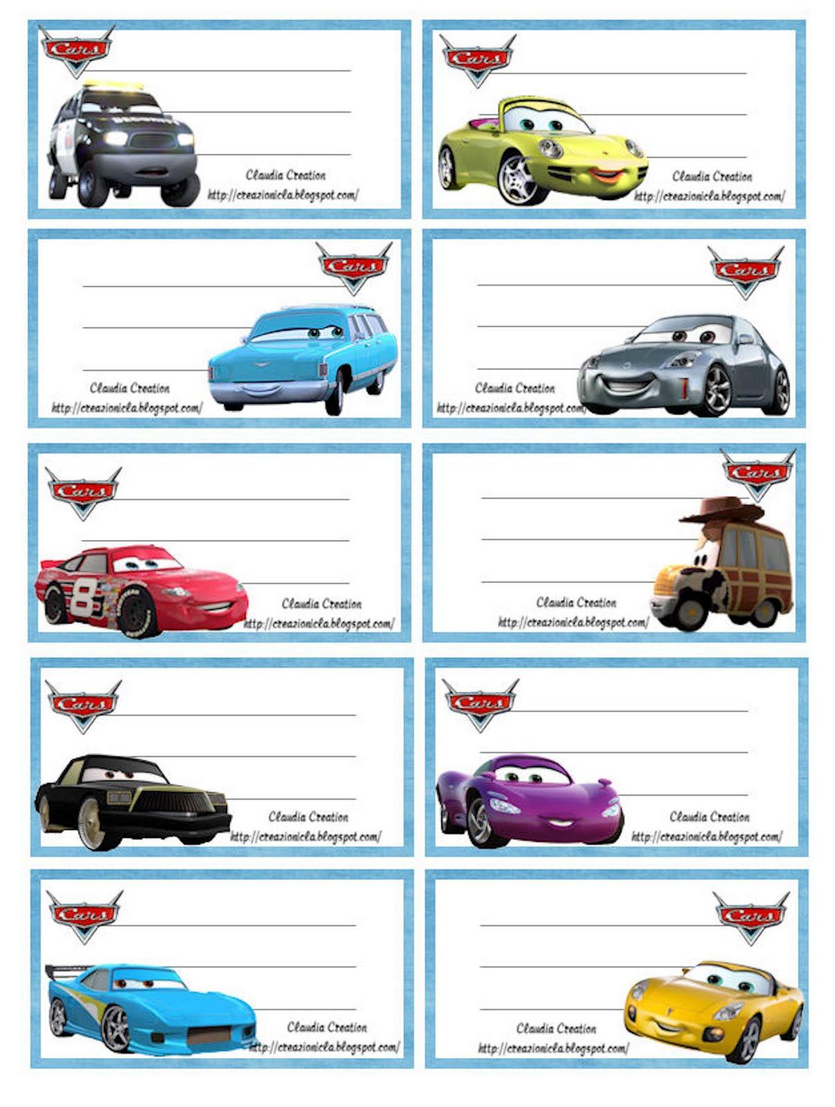 Creazioni cla etichette scuola cars - Pegatinas pared infantiles disney ...