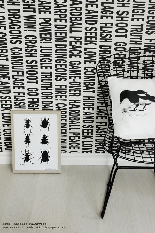 kudde med tryck, kuddar med svartvitt motiv, skata på kudde, konst, skator, fågel, fåglar, motiv, webbutik, webbutiker, webshop, svart och vitt, svartvit tapet med text, grafiskt, grafisk, grafiska, tavla med skalbagge, skalbaggar på tavlor, poster, posters, print, prints, konsttryck, artprint, artprints, tavlor, eiffeltornet i inredningen, dekorera med eiffeltorn, kaktus, monstera, växter, blommor, inredningsdetaljer, inredning, inredningsblogg, bloggar, annelie palmqvist, vitt, vit, vita, nettbutikk, nettbutikker,  stol jotex
