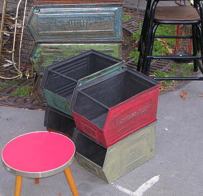 metal containers at French flea market