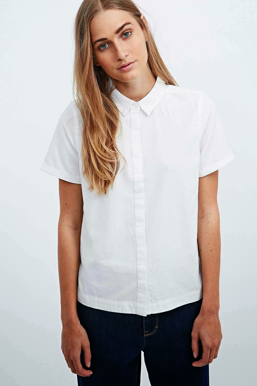 waven white shirt, waven short sleeve white shirt,