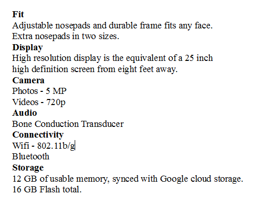 Tech Specs for Google Glass Tech Specs