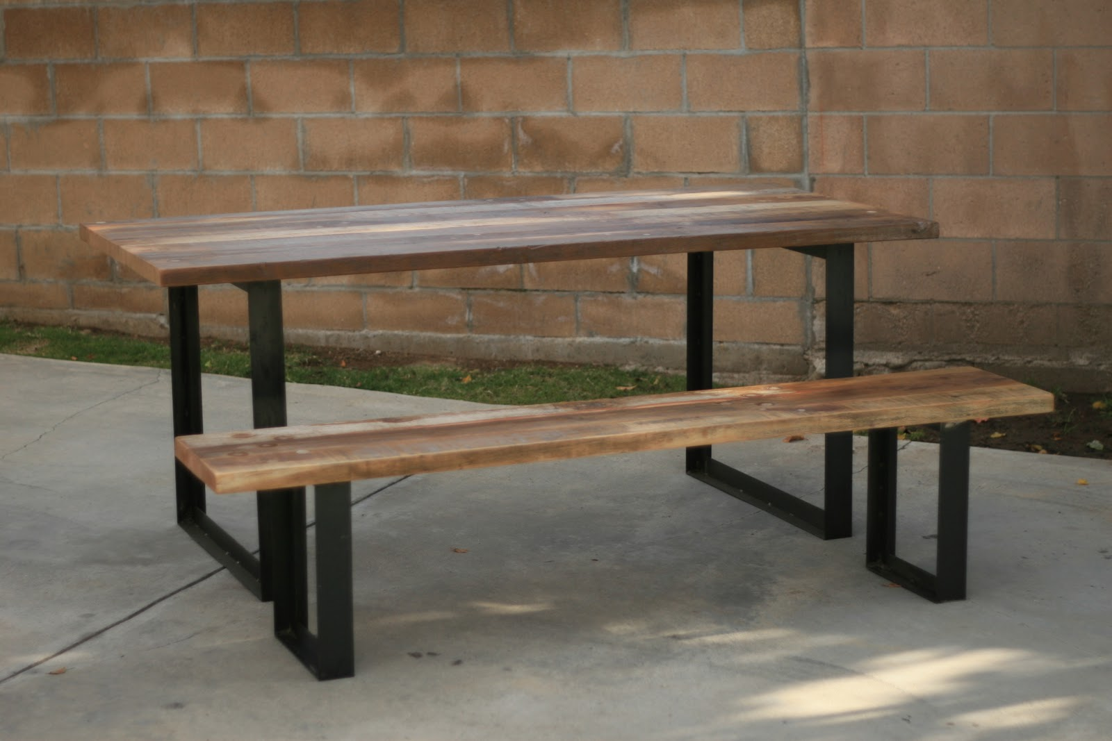 Arbor Exchange  Reclaimed Wood Furniture: Outdoor Table + Bench With Metal  Legs