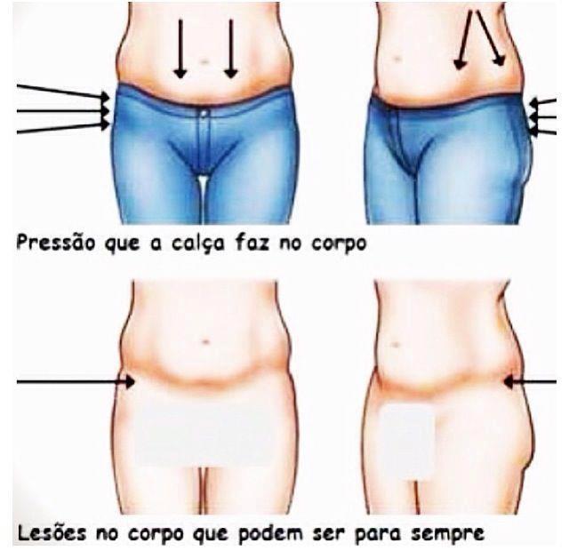 efeitos da calça cintura baixa