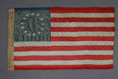 Betsy Ross Gift flag, repair, framing, mounting of historical flags by Flag conservator Gwen Spicer