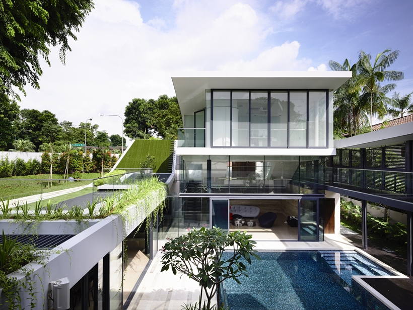 Facade of an Impressive dream home in Singapore by a-dlab
