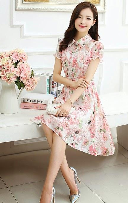 New 2015 Spring Summer 4-Floral Print Short Sleeve Lapel Collar Chiffon Midi Dress