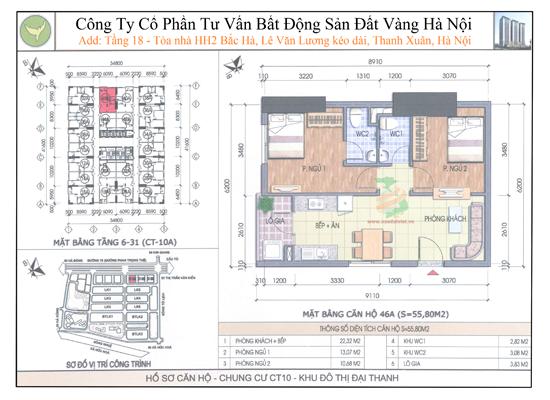 Chung cư Đại Thanh CT10 55,8m2