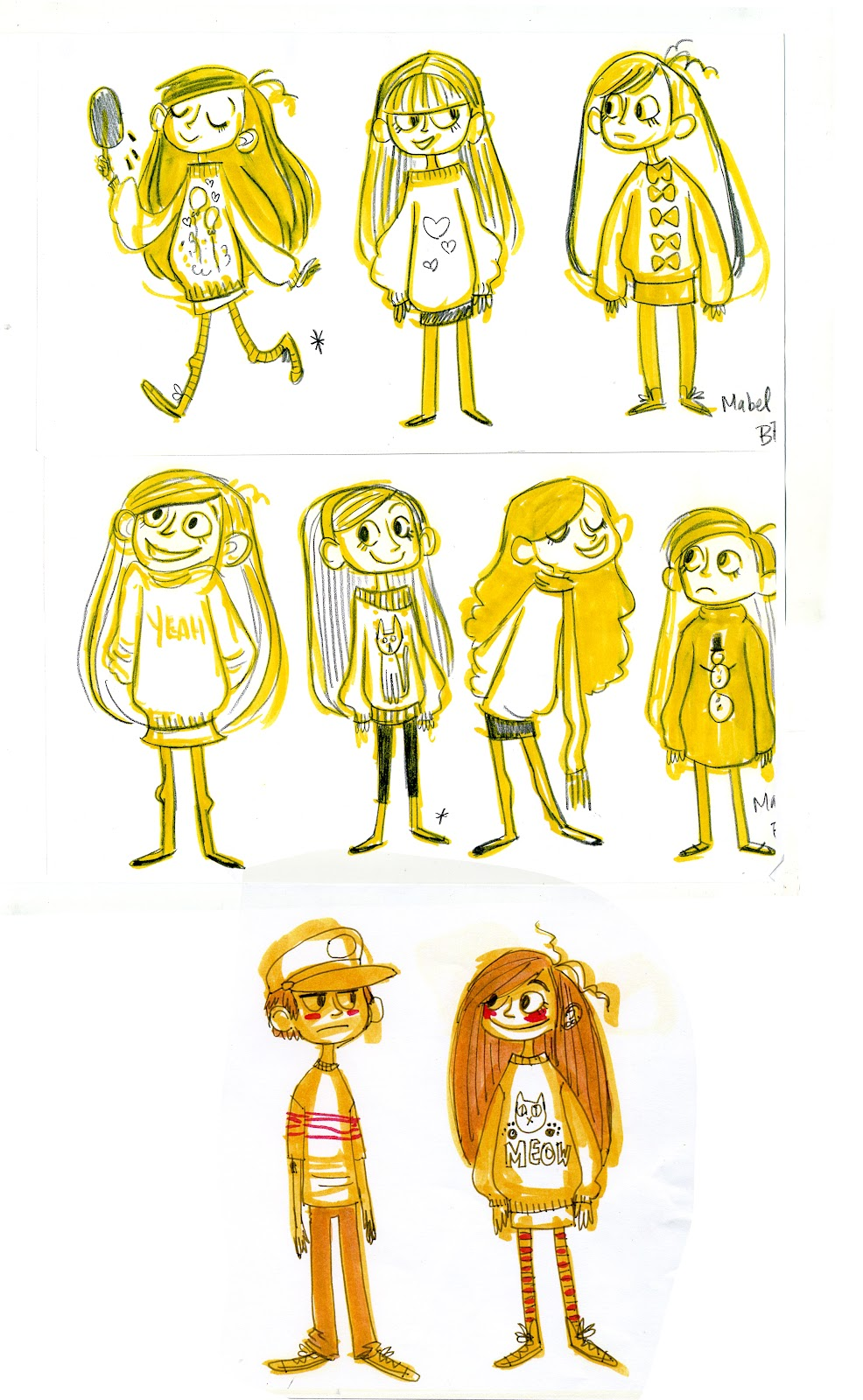 Brigette Barrager Posted A Big Gallery Of Early Gravity Falls Concept Art Including These Mabel Designs