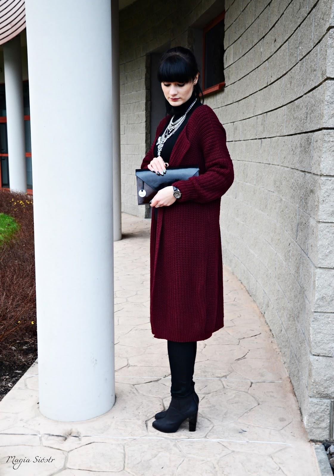 kolor burgund, kardigan, sweter