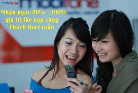 Khuyến mãi 50% - 100% giá trị thẻ nạp với CTKM Thách thức tuần