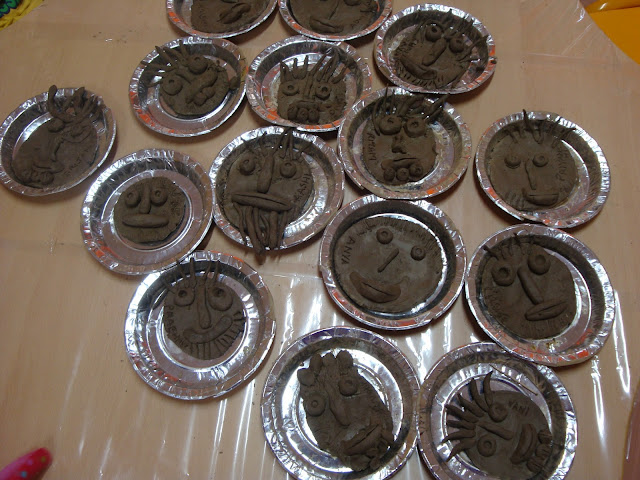 Clay Mask created by kids at summer camp in noida