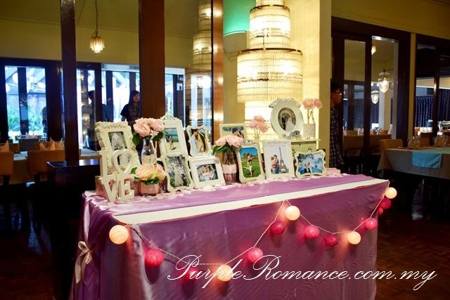 Photo Album Table Decoration, kuala lumpur, Rama V Fine Thai Cuisine, USA embassy, fairy lights, modern, elegant, sweet, purple, pink, satin, floral, flower