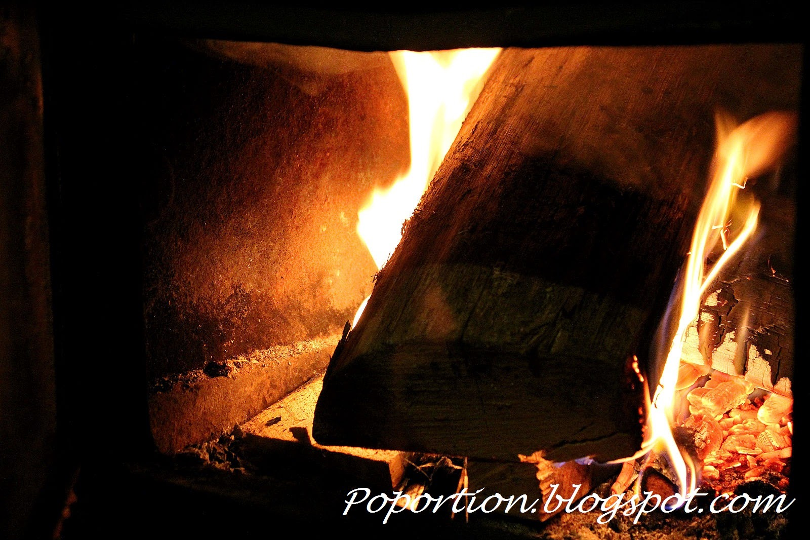 Furnace burning wood