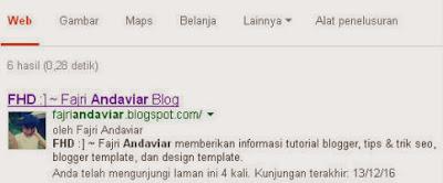 Contoh Kepemilikan Situs/Blog pada Search Engine