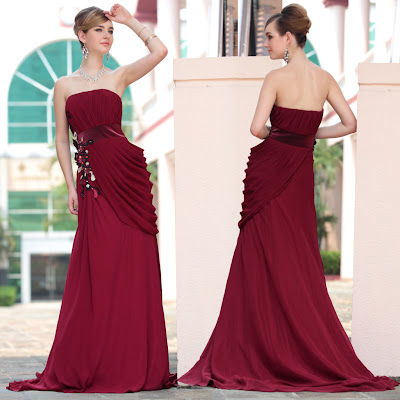 Burgundy Strapless Sweep Train Dress