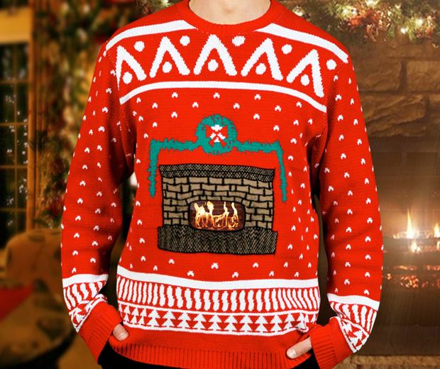 Knitted Crackling Fireplace Christmas Sweater