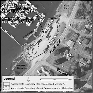 Cornet Bay Marina cleanup site map on Whidbey Island