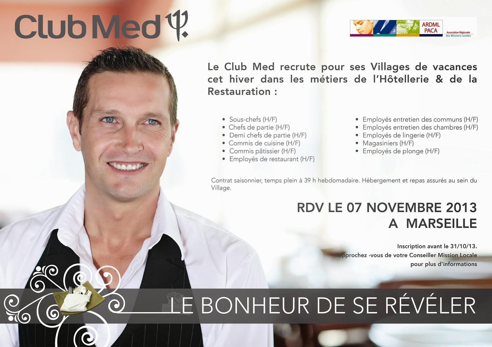Mission locale de la seyne sur mer le club med recrute - Offre d emploi commis de cuisine paris ...