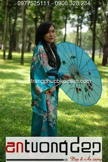 bán kimono nữ màu xanh lá
