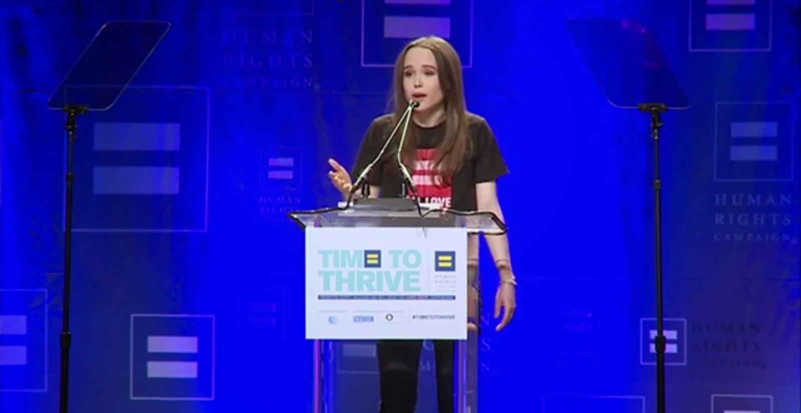 Atriz Ellen Page emociona ao assumir ser homossexual em evento para LGBT´s nos EUA.