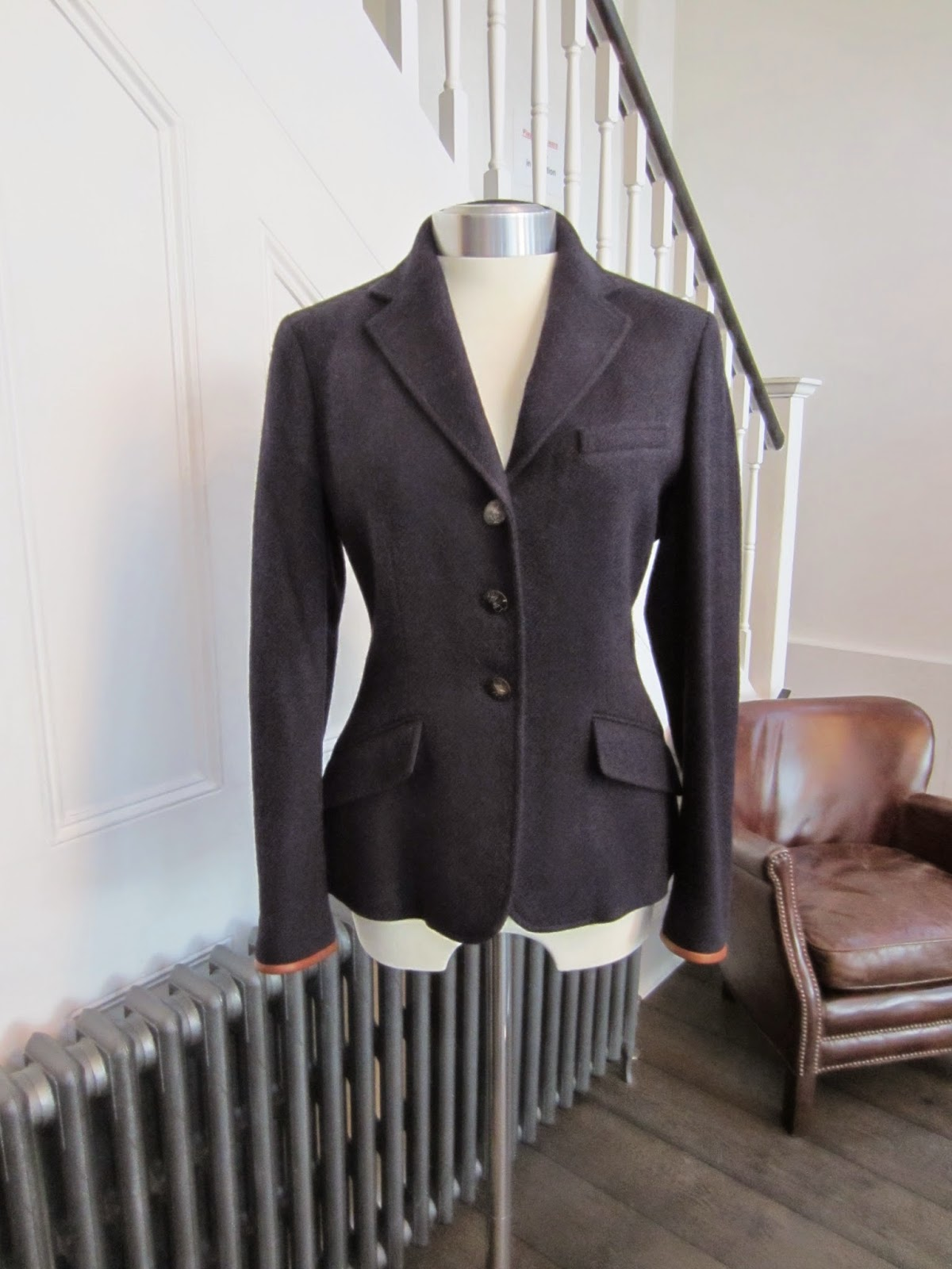 Ralph Lauren Navy Blue Jacket with Leather Trim