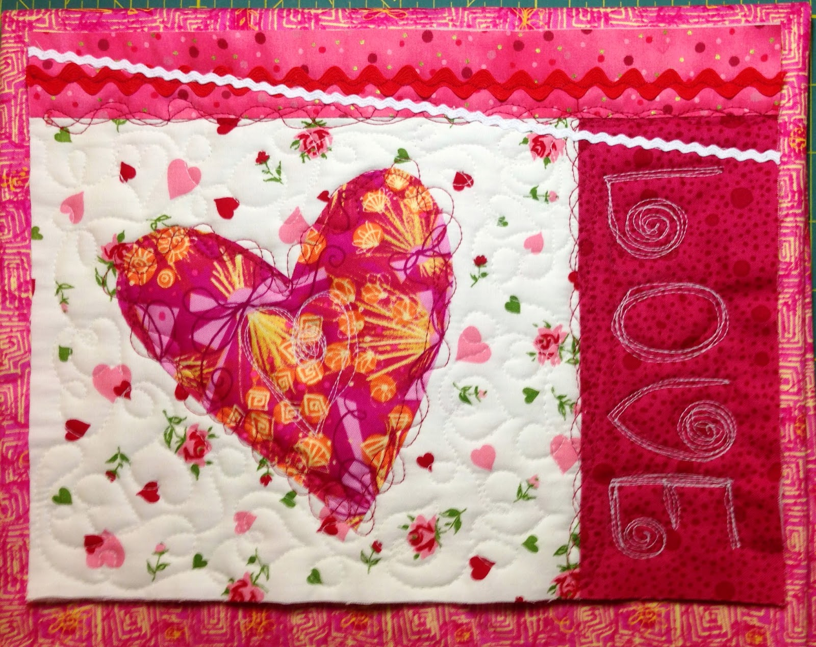 heart mug rug, valentines day, little quilt