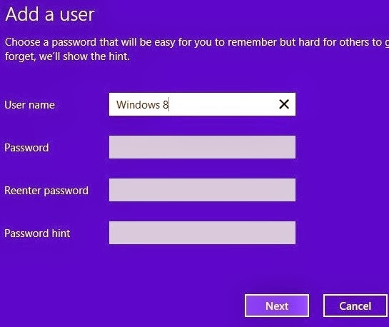 How to add new user in Windows 8 without a password?