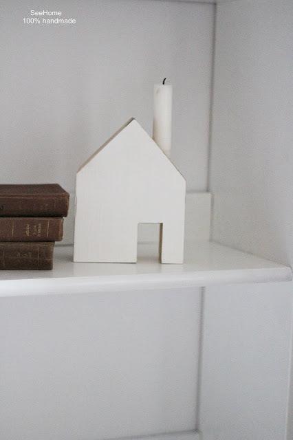 Świeczniki na stół,Drewniane domki
