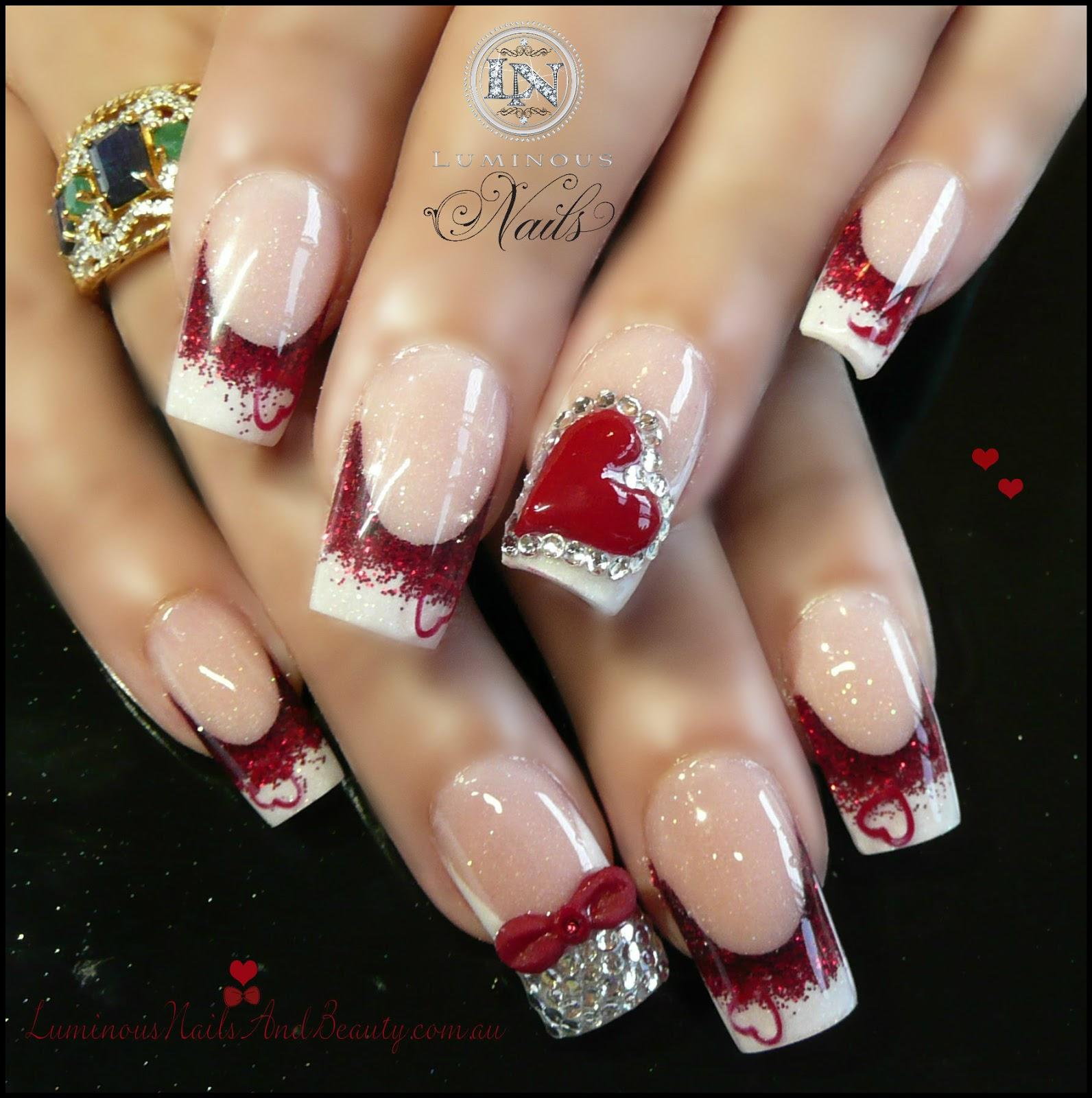 Valentine Nails Valentine's Fingers Luminous+Nails+and+B