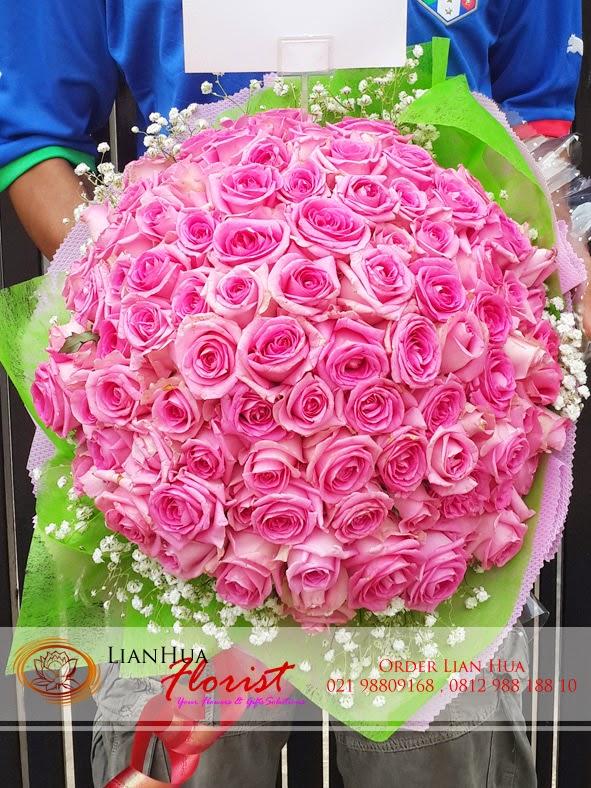 bunga mawar, bunga mawar pink 100 tangkai, bunga mawar besar, toko bunga, florist jakarta, bunga valentine,toko bunga jakarta, toko bunga jakarta utara