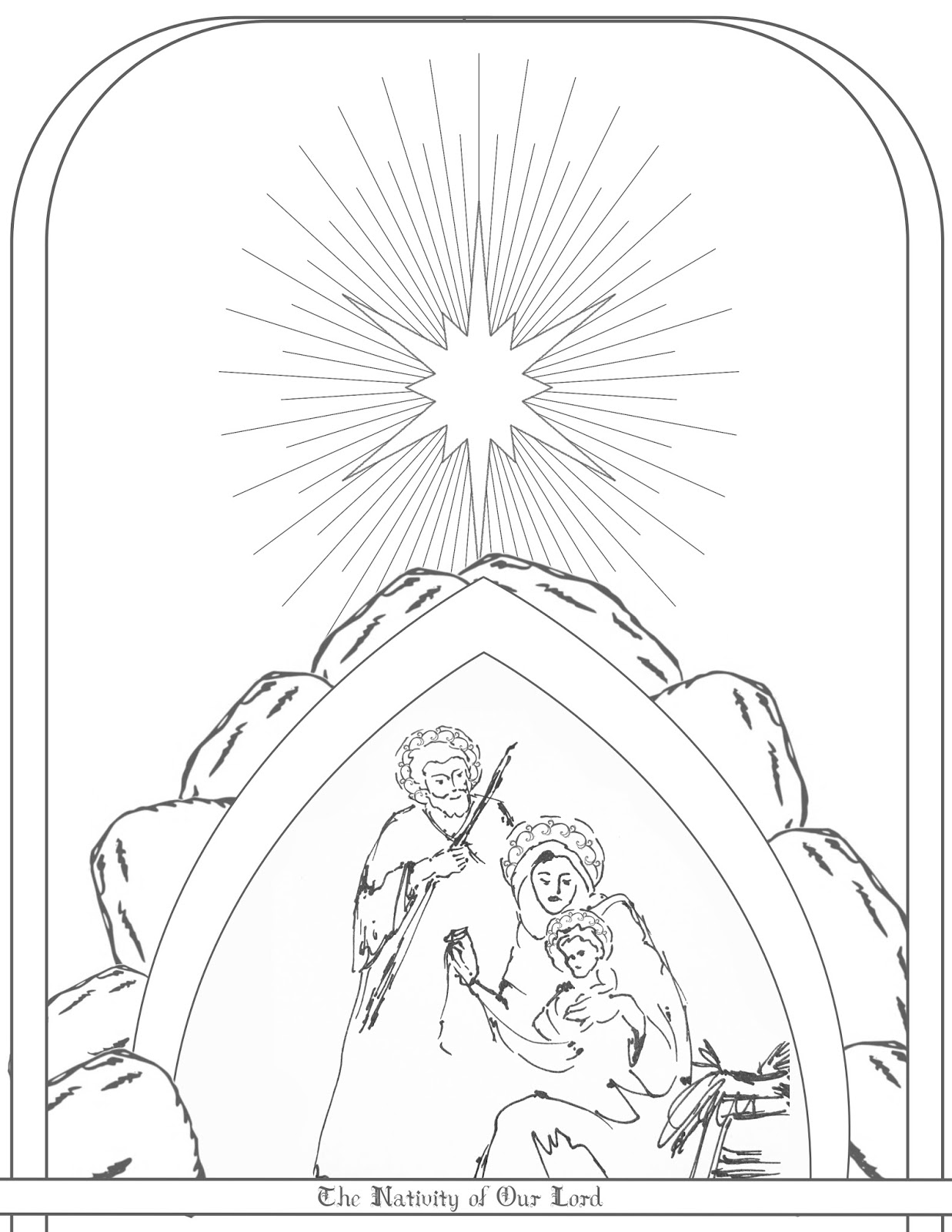 Free coloring pages nativity scene - I Couldn T Find Any Coloring Pages With A Nativity Scene In A Cave So Here You Go In Case You Were Looking For One Too
