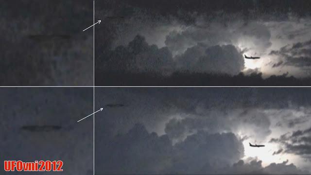 L'orage sur l'Italie révèle OVNI derrière les avions, le 6 Juillet 2016