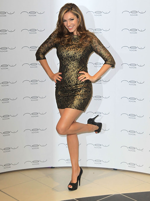 Kelly Brook in Dark Golden One Peice Short Skirt and NEW Look  Photoshoot