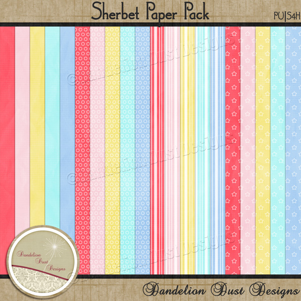 Preview of Sherbet Papers Pack by Dandelion Dust Designs