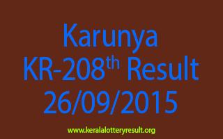 Karunya KR 208 Lottery Result 26-9-2015