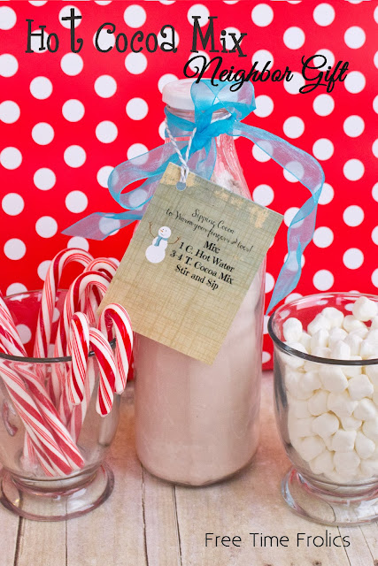 Hot cocoa Mix neighbor gift via www.freetimefrolics.com #neighborgift, #hotcocoa