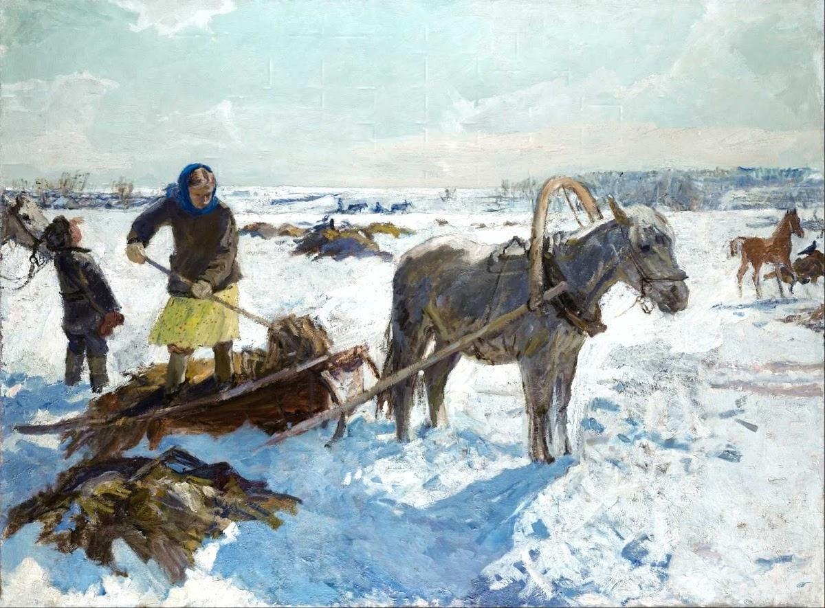 Arkady Plastov March in a Village