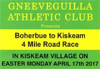Boherbue to Kiskeam 4 mile road race in NW Cork...Mon 17th Apr 2017